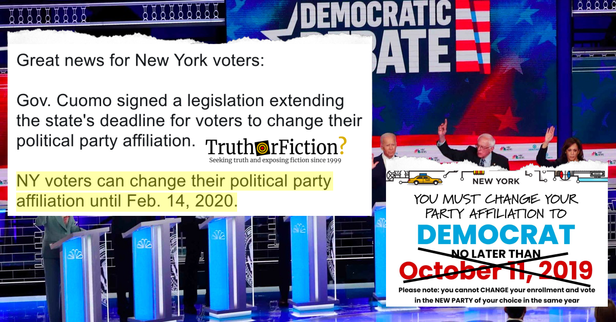 Deadline to Change Party Affiliation in New York State is February 14 2020 (Not October 2019)