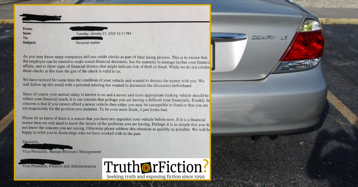 'We Have Noticed the Condition of Your Vehicle' Viral Human Resources Letter