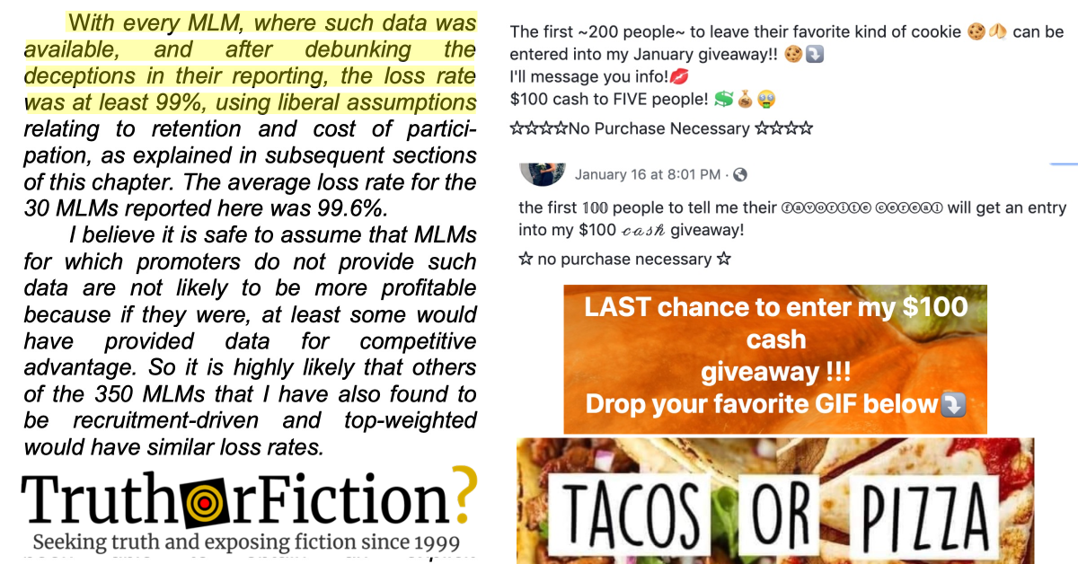 'My Team and I Are Doing a $100 Cash Giveaway' Facebook Multi-Level Marketing Meme