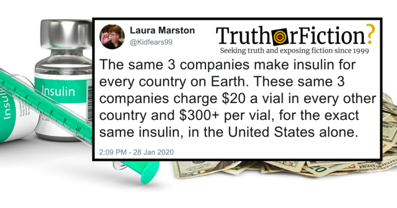 Do Only Three Companies Make All the World's Insulin (Charging $20 Outside the United States and $300+ in...