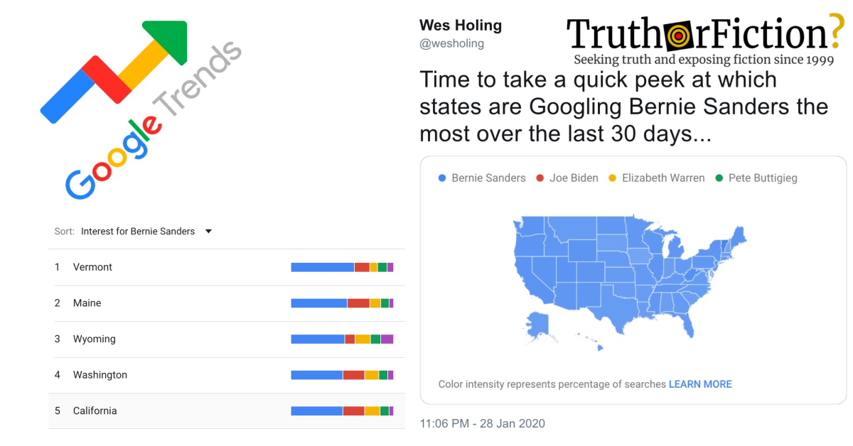 'A Quick Peek at Which States are Googling Bernie Sanders the Most Over the Last 30 Days'