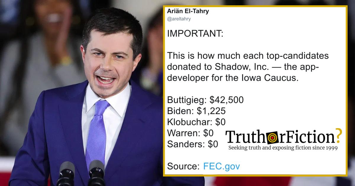 Did Pete Buttigieg's Campaign Pay $42,500 to Iowa Caucus App Developer Shadow, Inc.?