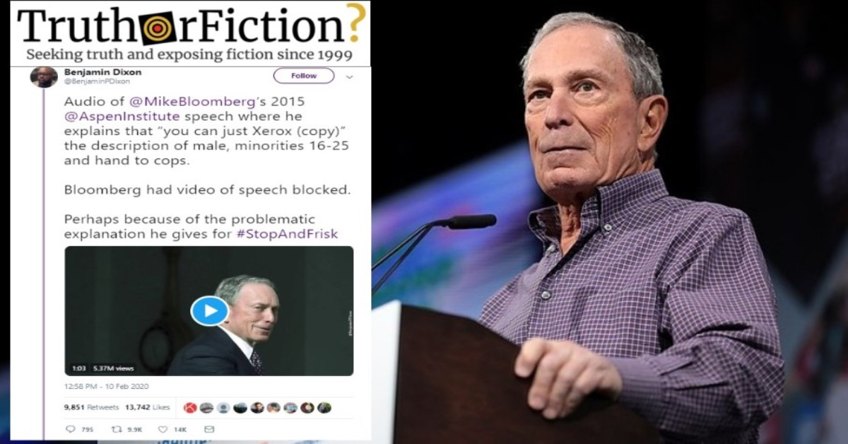 Did Michael Bloomberg Say Young Men of Color Commit '95 Percent of Your Murders'?