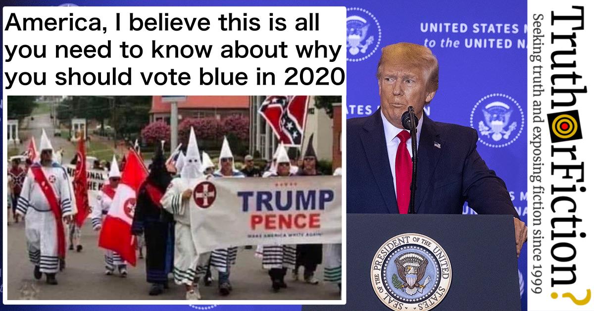 Does an Image Show the Ku Klux Klan Marching with a Trump/Pence Banner?