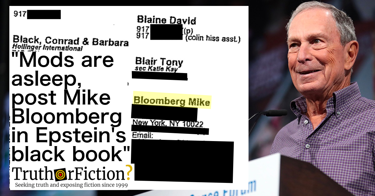 'Mods are Asleep, Post Mike Bloomberg in Epstein's Black Book'