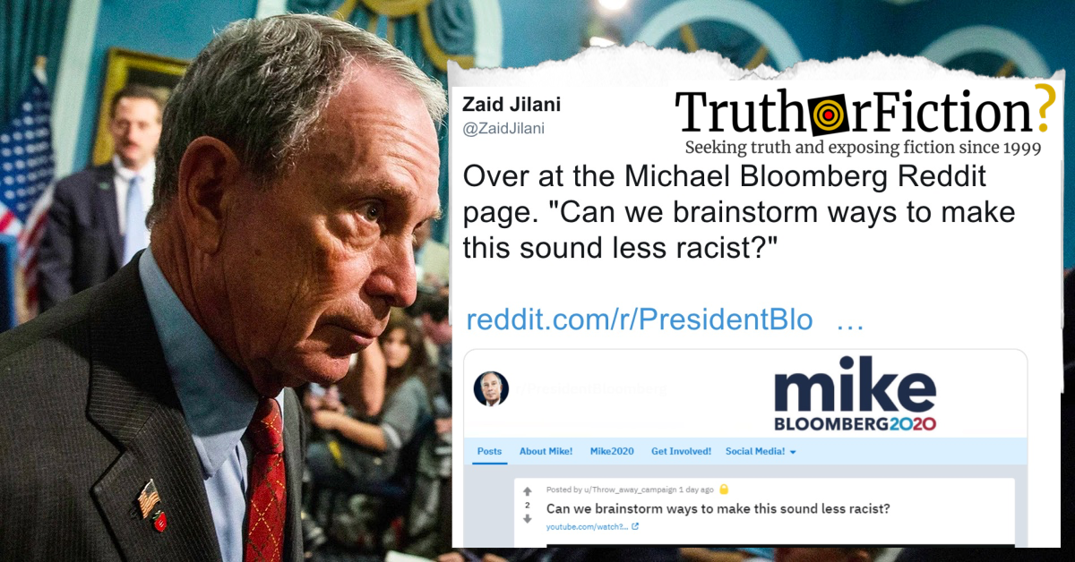 'Can We Brainstorm Ways to Make This Sound Less Racist' Michael Bloomberg Subreddit Post
