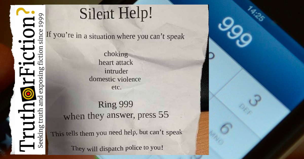 For 'Silent Help,' 'Ring 999, Then Press 55'