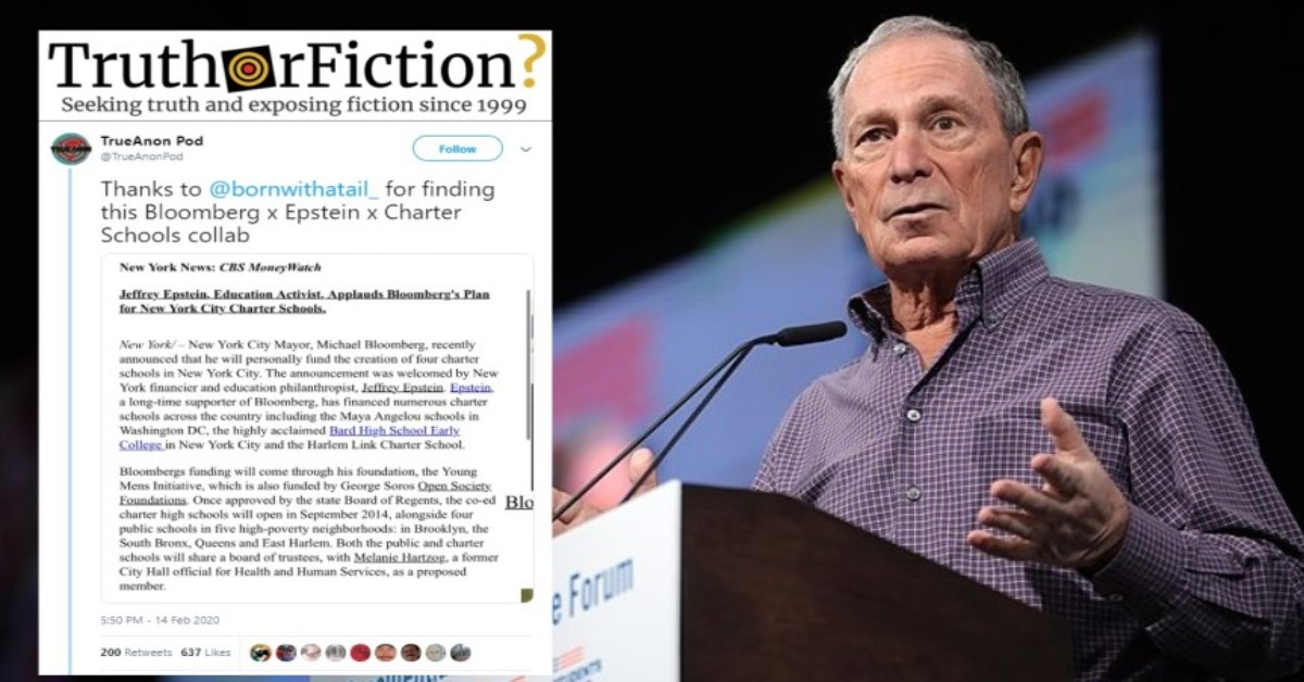 Did Michael Bloomberg and Jeffrey Epstein 'Collab' on a Charter School Funding Plan?