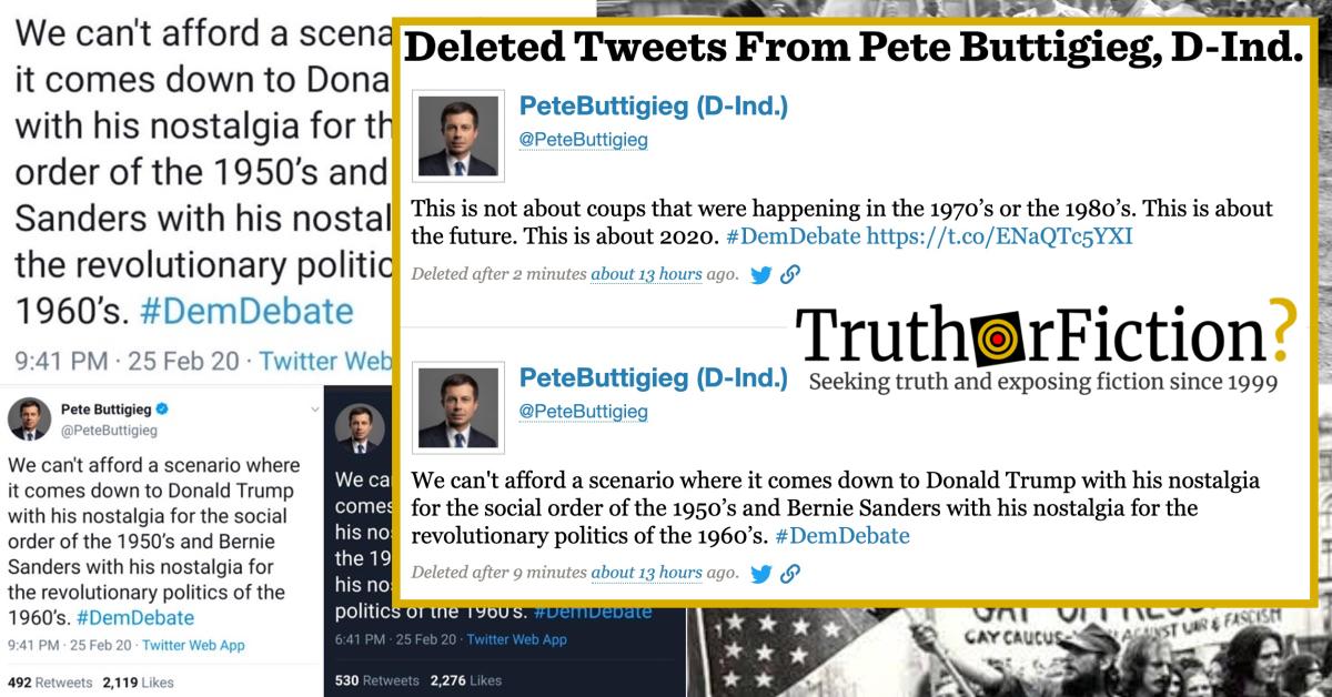 Buttigieg Deletes Tweet Decrying 'Nostalgia for the Revolutionary Politics of the 1960s'