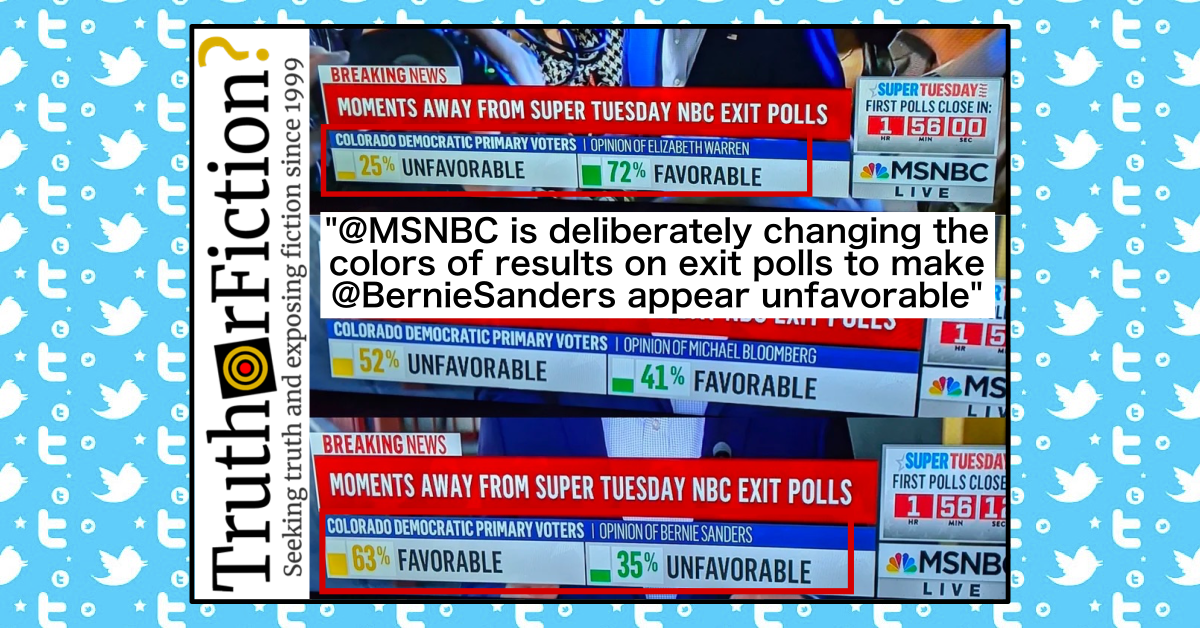 """Did MSNBC Switch Colors for """"Favorable"""" and """"Unfavorable"""" for Only Bernie Sanders in a Super Tuesday Chyron?"""