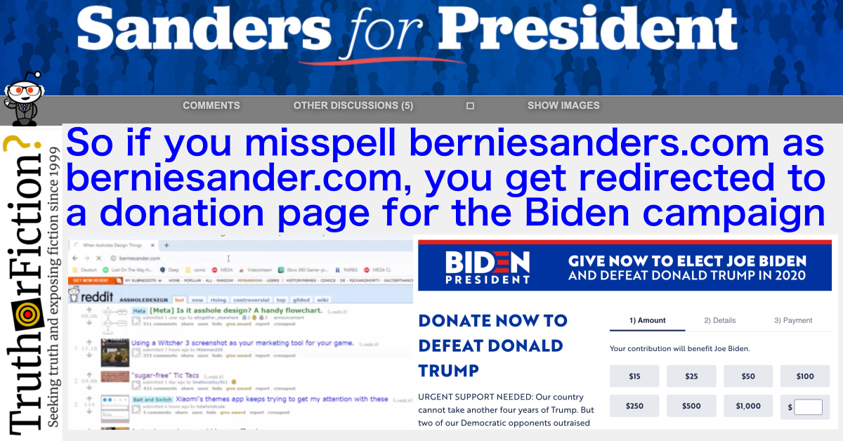 If You Misspell BernieSanders.com as BernieSander.com, Do You Get Redirected to a Donation Page for the Biden Campaign?