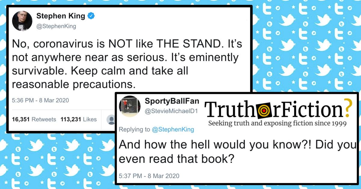 Stephen King 'Coronavirus Is not Like 'The Stand' Response Tweet