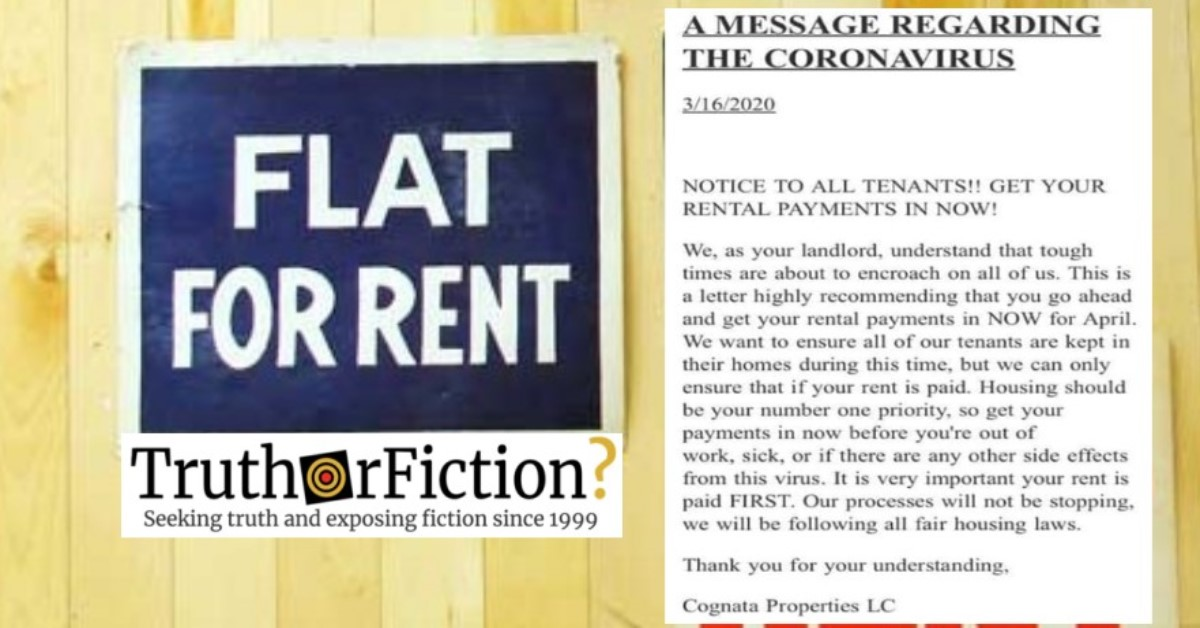 Did a Property Management Company Tell Tenants to Pay Rent First During the COVID-19 Pandemic?