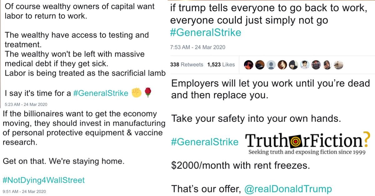 The #GeneralStrike Hashtag and the Coronavirus Economic Debate