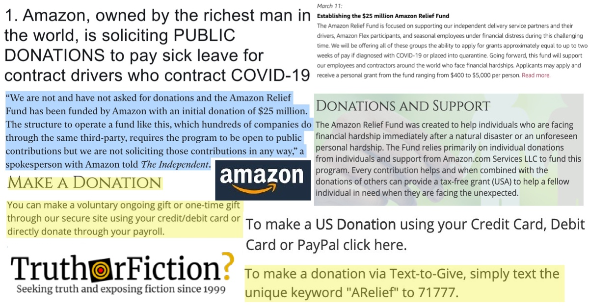 Is Amazon Seeking Public Donations to Fund Sick Leave During the COVID-19 Pandemic?
