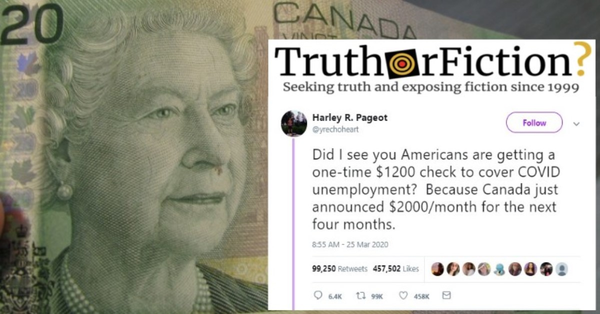 Is the Canadian Government Giving Citizens $2,000 a Month Because of COVID-19?