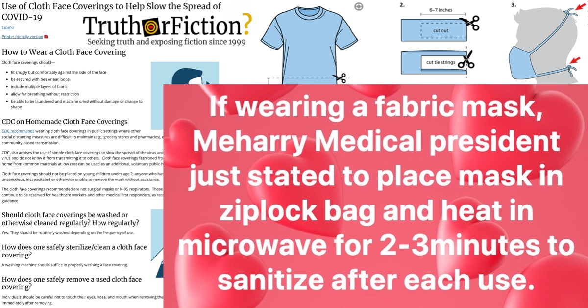 Did the President of Meharry Medical Advise Sterilizing Cloth Face Masks in the Microwave Between Uses?