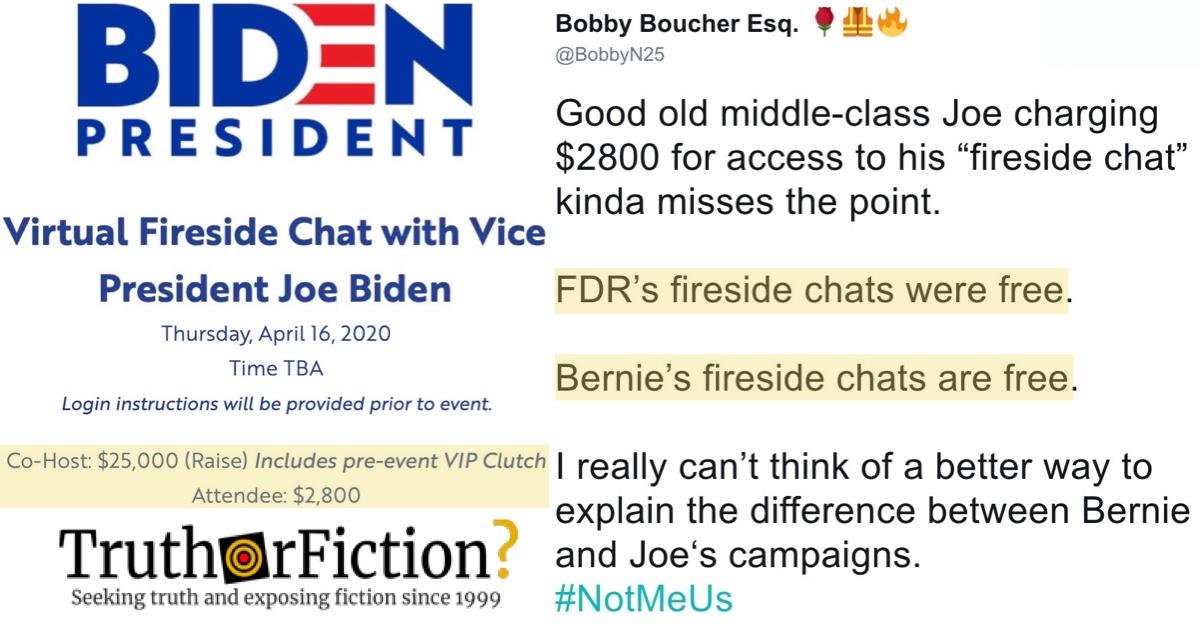 Did Joe Biden's Campaign Hold a $2,800 'Virtual Fireside Chat'?
