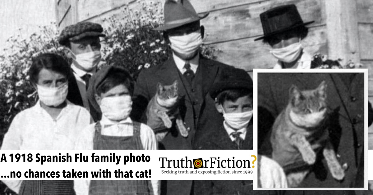 Spanish Flu 1918 Family Portrait Shows Cat with Face Mask