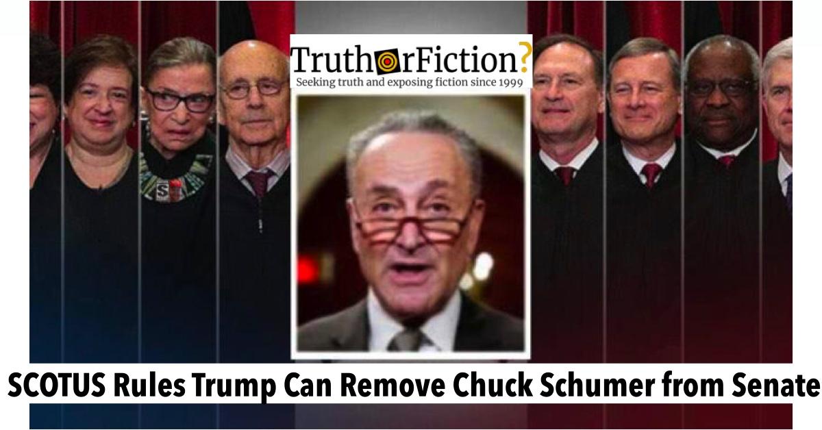 Did SCOTUS Rule Trump Can Remove Chuck Schumer from the Senate?