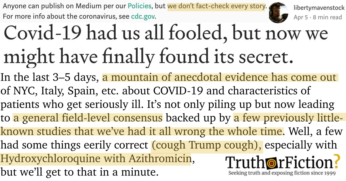 'COVID-19 Had Us All Fooled, but Now We Might Have Finally Found Its Secret' Medium Post