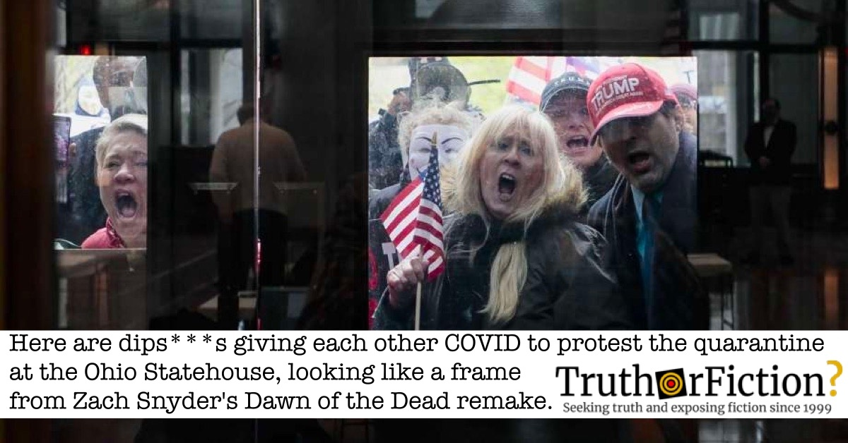 Viral 'Ohio State House COVID-19 Protest' Image