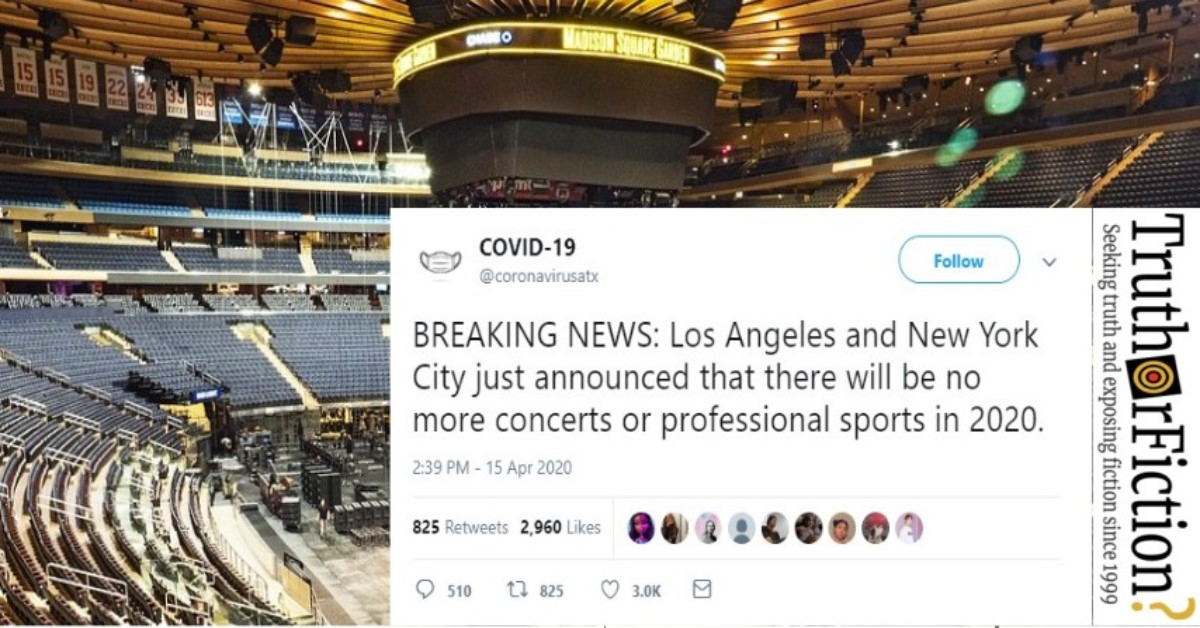 Did Los Angeles and NYC Announce 'No More Concerts In 2020'?