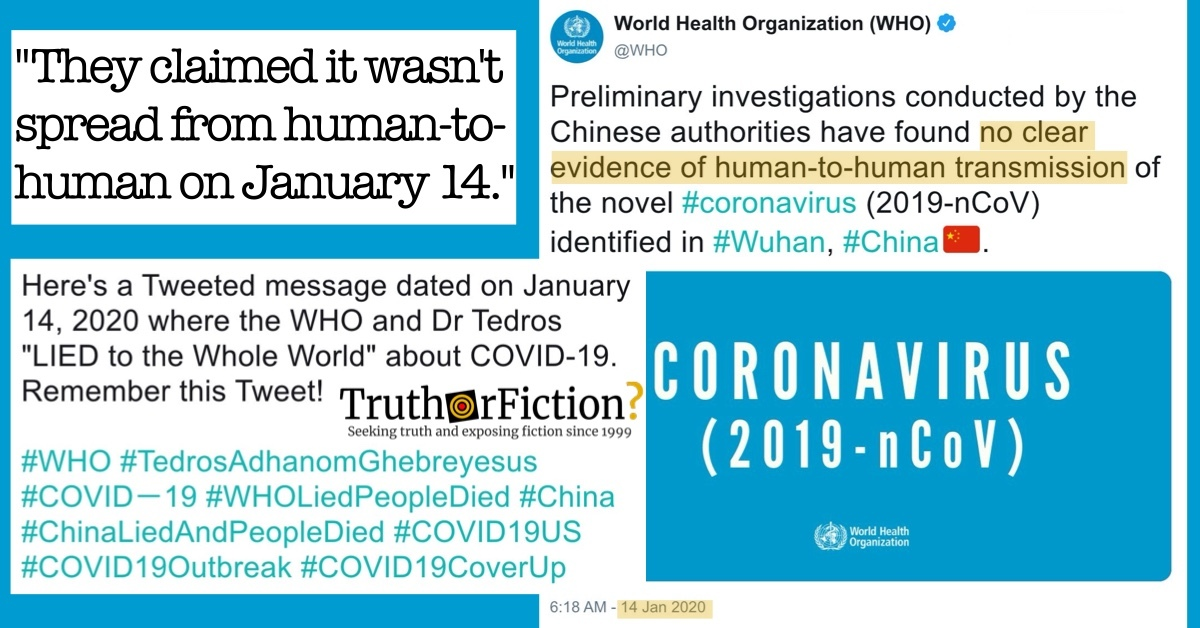 Did the World Health Organization Tweet That There Was 'No Clear Evidence of Human-to-Human Transmission of the Novel #Coronavirus' on January 14 2020?