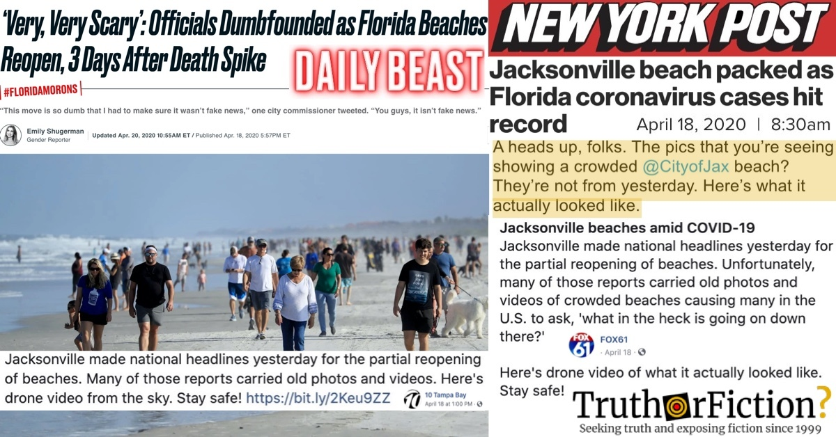 Did News Outlets Publish Old Photographs of Crowded Jacksonville, Florida Beaches in April 2020?