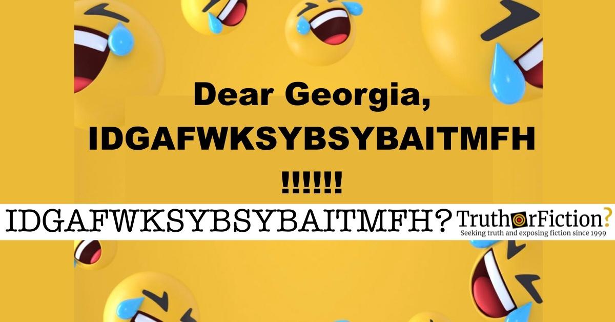 'Dear Georgia IDGAF' Meme