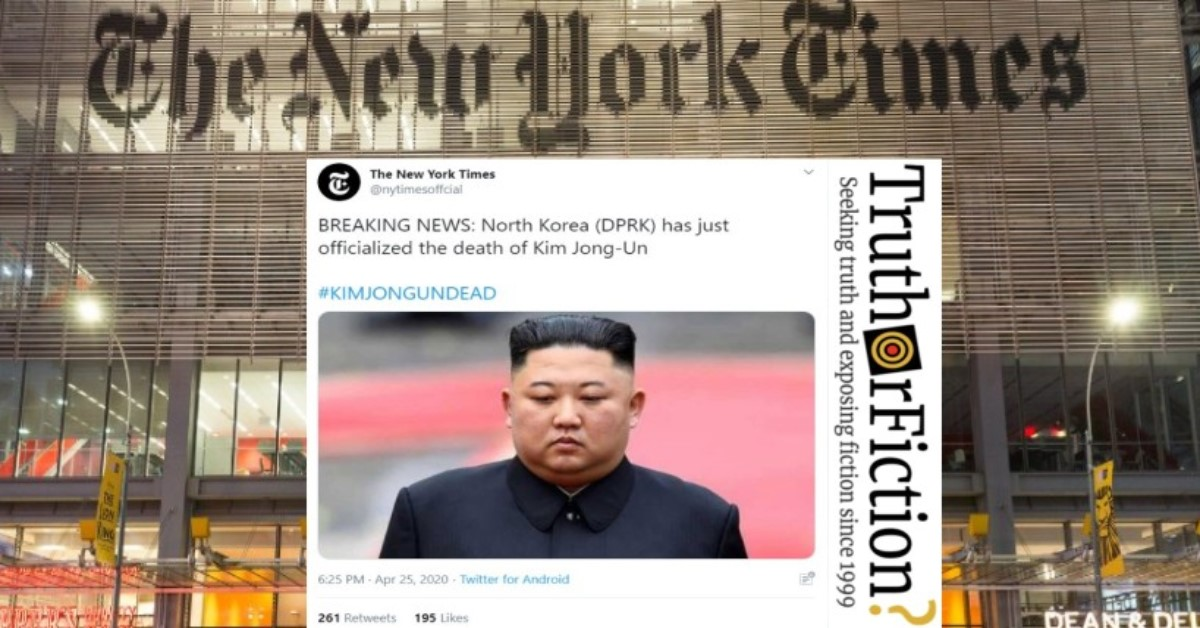 Did the New York Times 'Officialize' Kim Jong-Un's Death?