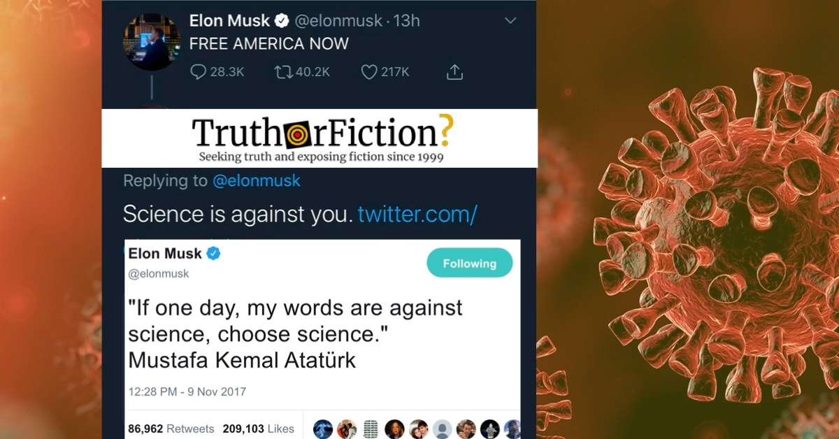 Did Elon Musk Tweet 'If One Day, My Words are Against Science, Choose Science' Before a COVID-19 Controversy?