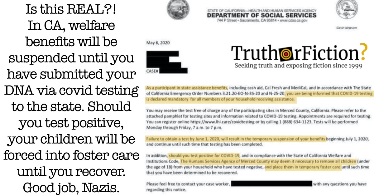 Is the California Department of Social Services Mandating COVID-19 Testing for Eligible Families — and Threatening to Place Children in Foster Care?