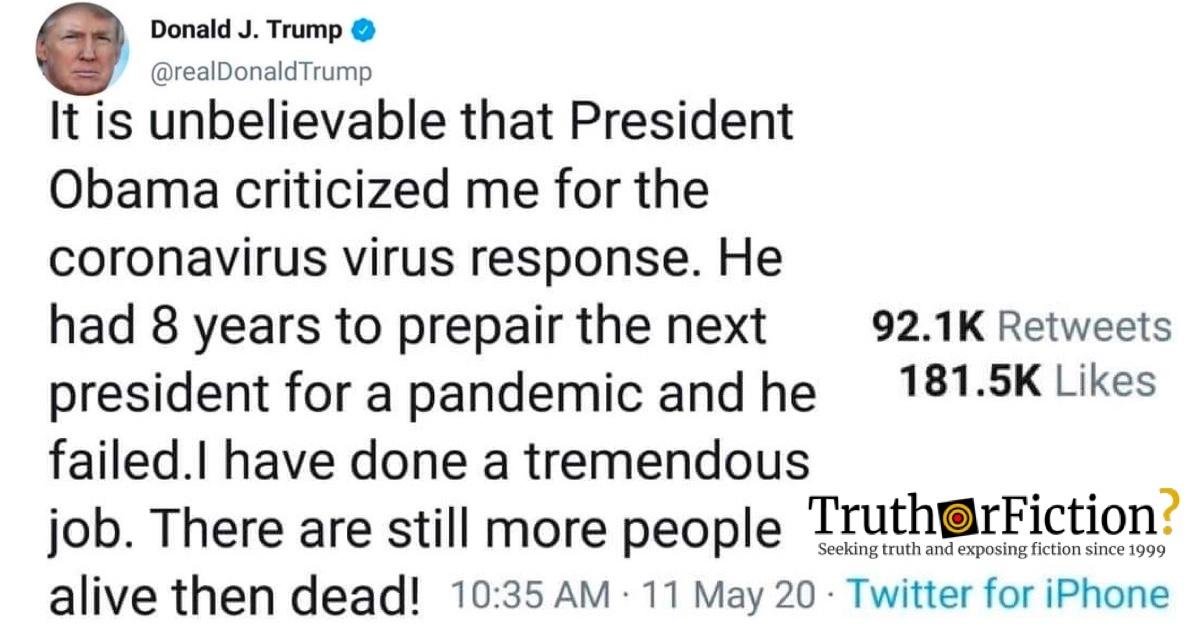 Did U.S. President Donald Trump Tweet That Obama Didn't 'Prepair' for the Coronavirus Pandemic?