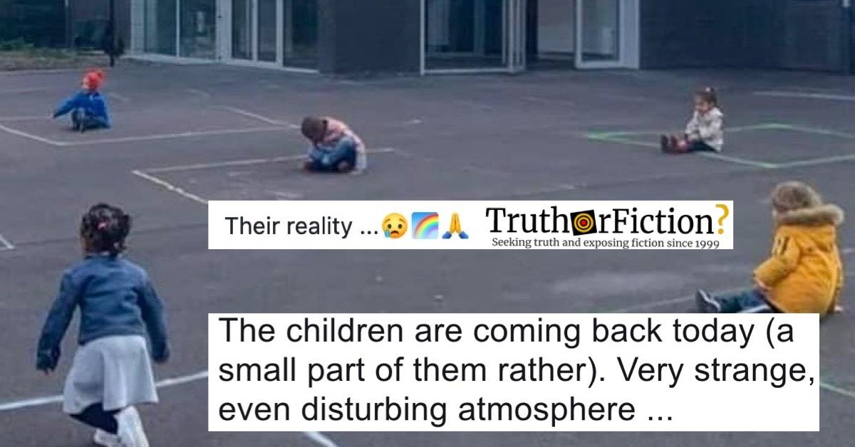 'Striking' Photograph of Children Playing in 'Chalk Squares' During Coronavirus Pandemic