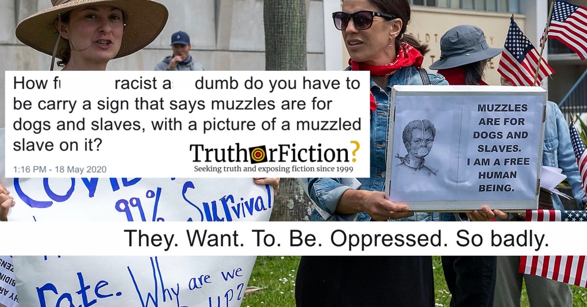 'Muzzles are for Dogs and Slaves' COVID-19 Protest Sign