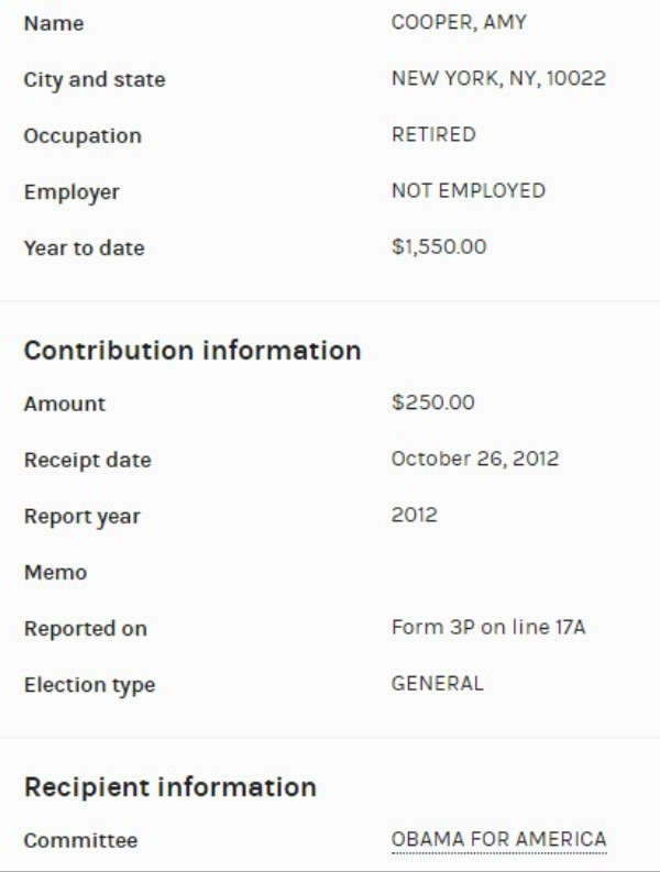 Did Amy Cooper Make Campaign Donations to Obama, Buttigieg ...Amy Cooper