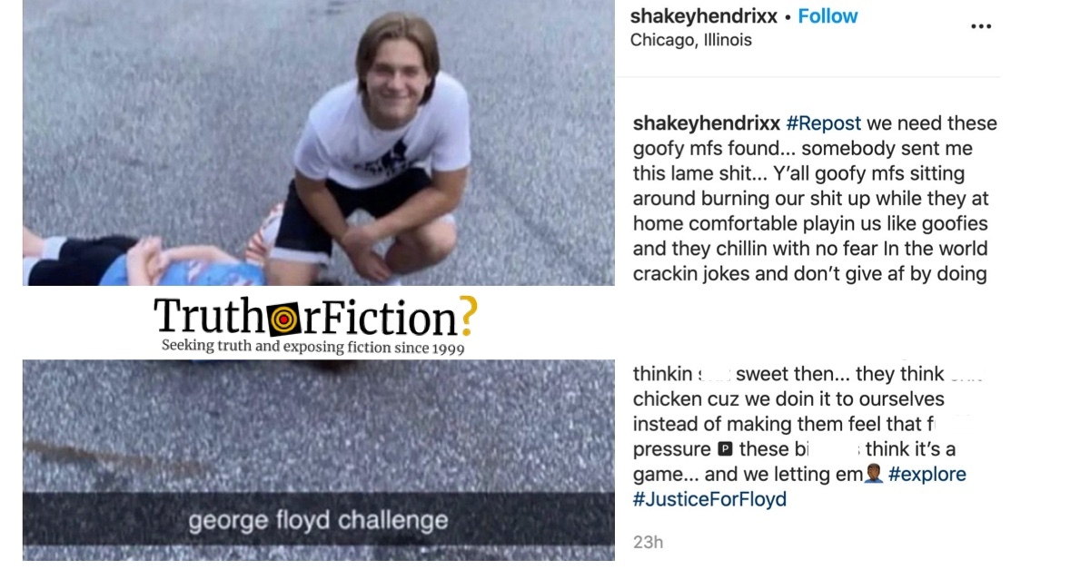 'George Floyd Challenge' Image Spreads Virally, Provenance Unknown