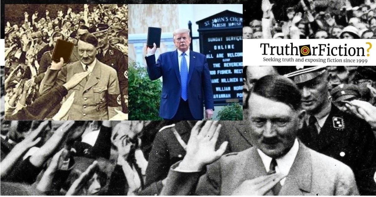Hitler Holding a Bible, Trump Holding a Bible