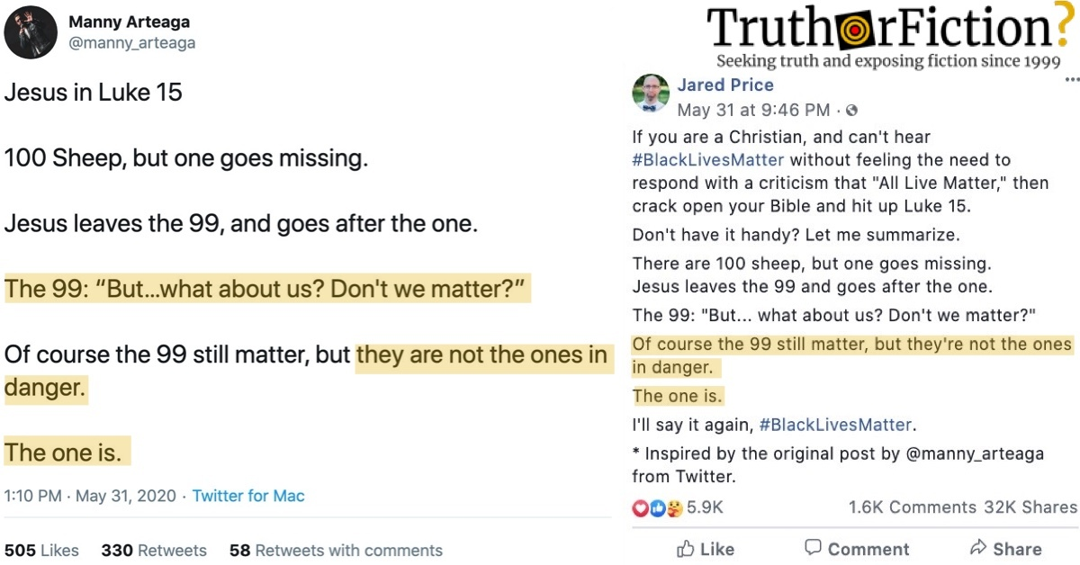 """#BlackLivesMatter and the Parable of the """"100 Sheep"""""""