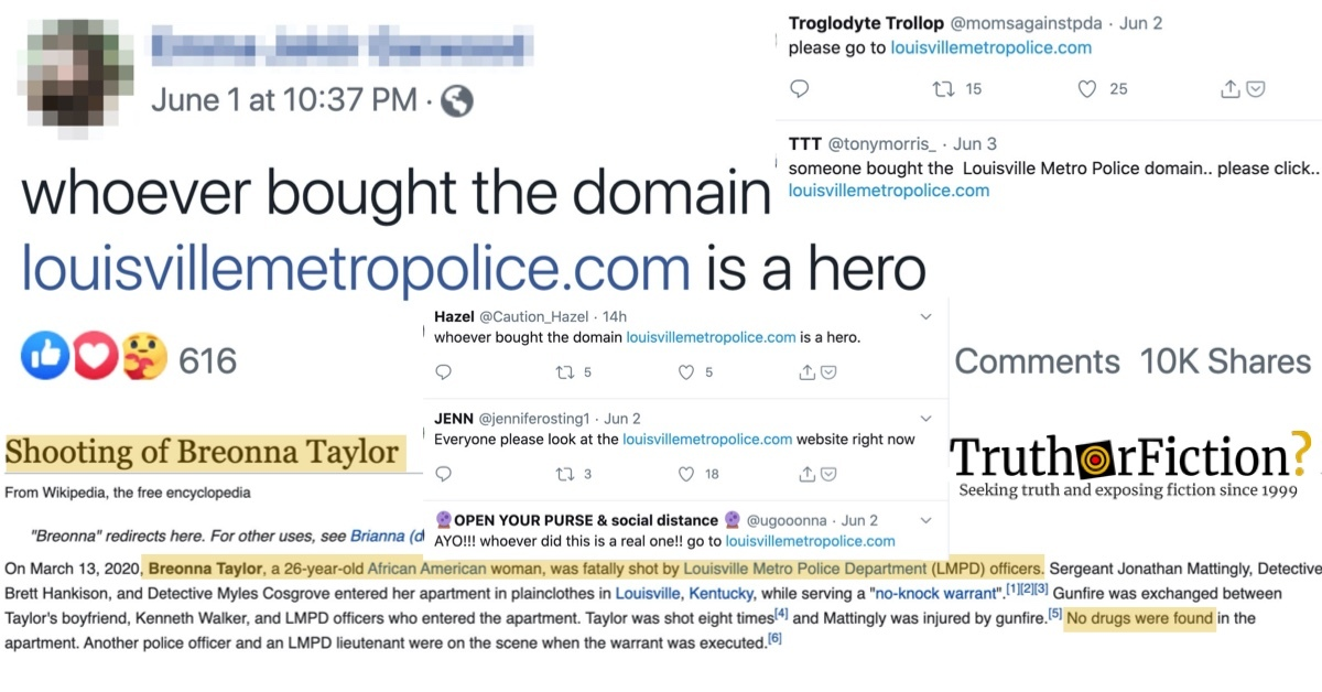 'Whoever Bought the Domain LouisvilleMetroPolice.com is a Hero'