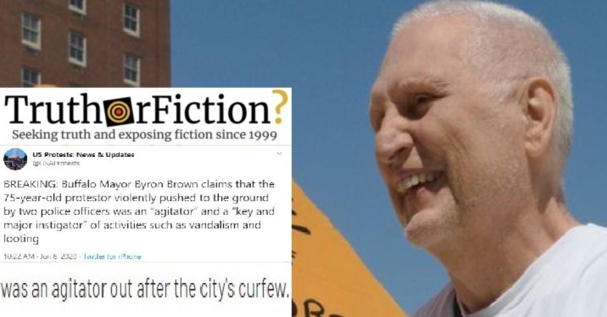 Did the Mayor of Buffalo Call 75-year-old Martin Gugino 'an Agitator'?