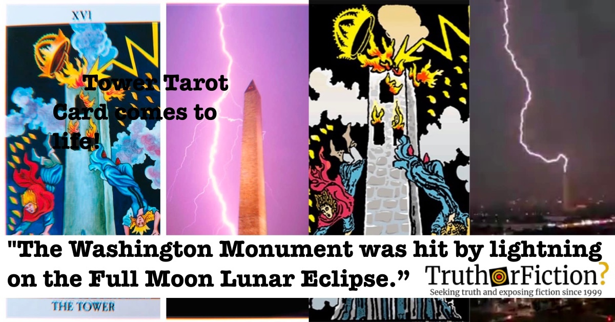 The Washington Monument Struck by Lightning and the Tower Card