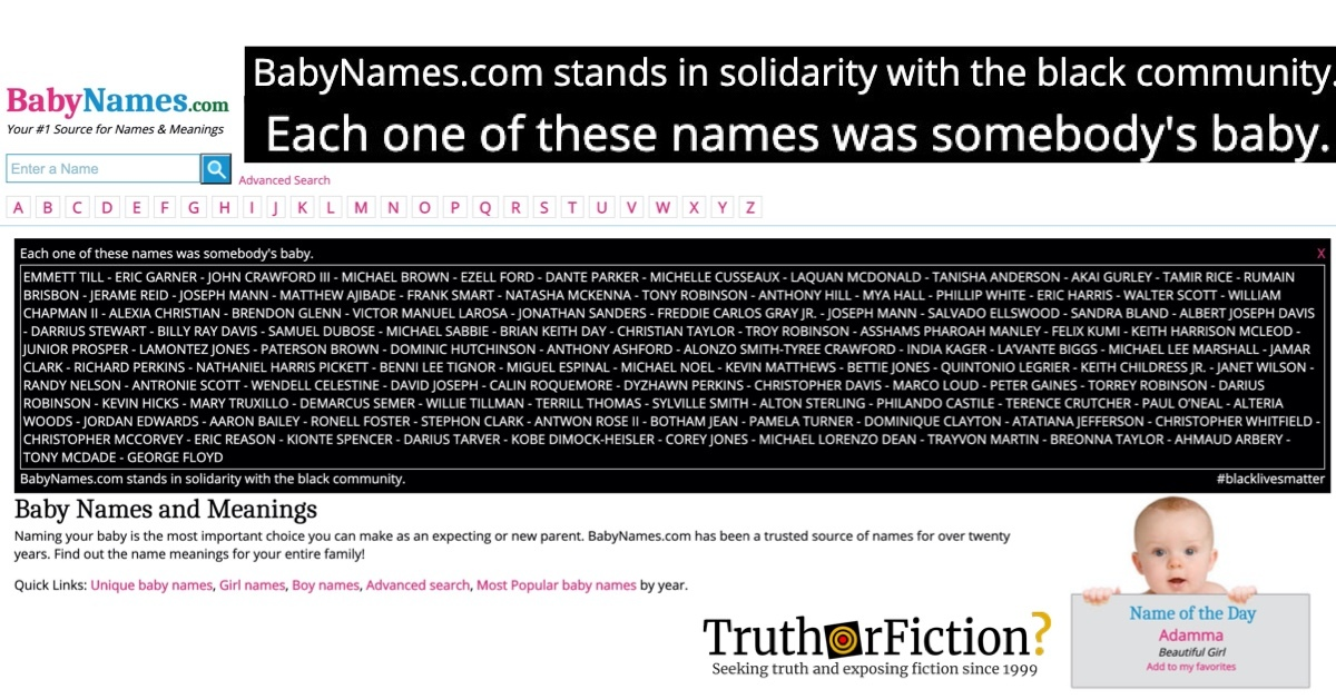 BabyNames.com Intermittently Crashes After Paying Tribute to Victims of Police Violence