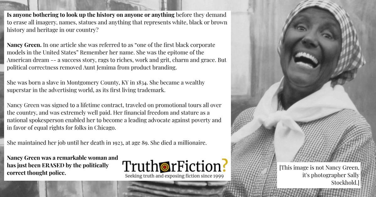 Is Original 'Aunt Jemima' Nancy Green Being 'Erased' by Political Correctness?