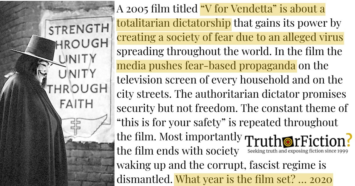 Is the 2005 Film 'V for Vendetta' About a Virus — and Set in 2020?
