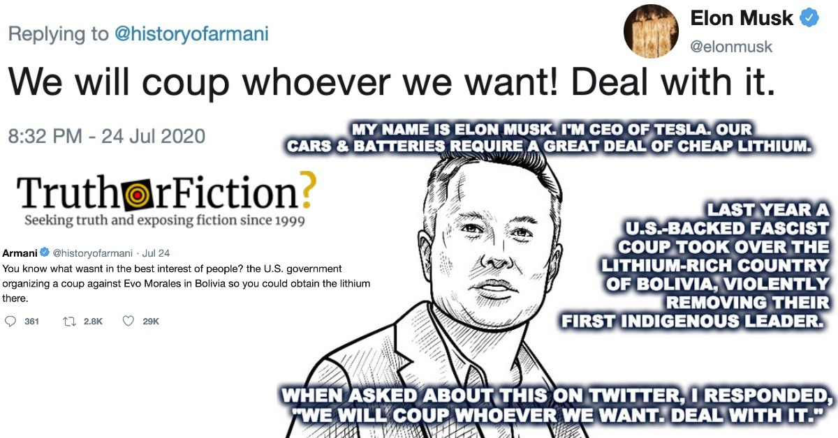 Did Elon Musk Tweet 'We Will Coup Whoever We Want, Deal With It'?