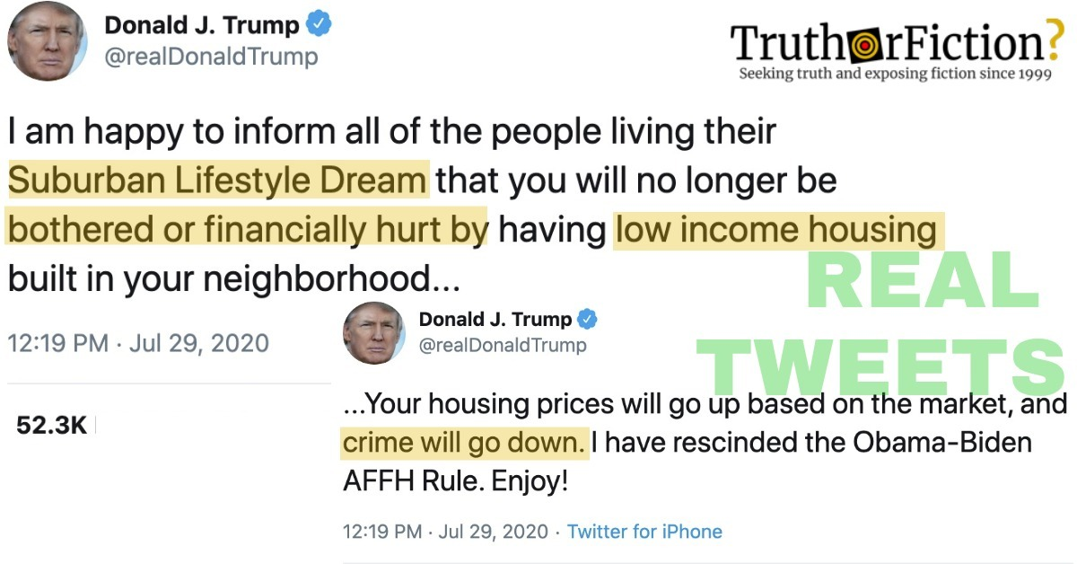 Did Trump Tweet That the 'Suburban Lifestyle Dream' Won't be 'Hurt by Low-Income Housing'?