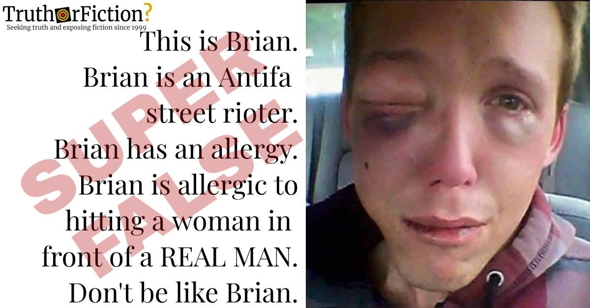 Does This Image Depict an 'Antifa Rioter' Named Brian Who 'Hit a Woman' in Front of a 'Real Man'?