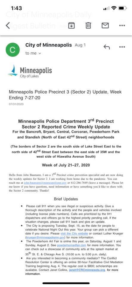 minneapolis 3rd precinct july 28 crime warning